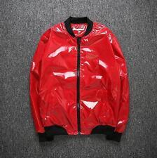 New Mens Singer Stand Collar Zipper Shiny Costume Clubwear Fashion Jacket Coat