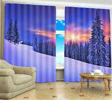 Winter Sunshine Snow 3D Blockout Photo Printing Curtains Draps Fabric Window