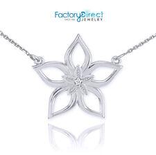 .925 Sterling Silver CZ Open Star Flower Pendant Necklace
