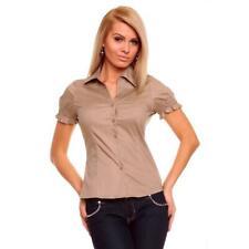 Elegante camicia a maniche corte con Smok-partita Marrone #bl095