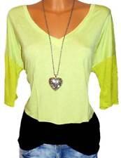 LAURA SCOTT Damen Shirt limette Colourblocking Gr. 36 - 50 NEU - 073