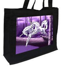 Wood Unicorn Cotton Shopping Bag, Choice Of Colours, Black, Cream