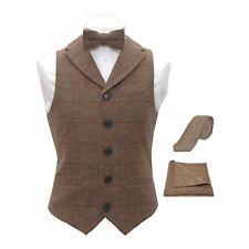 Luxury Herringbone Brown Tweed Waistcoat & Bow Tie, tie & Pocket Square
