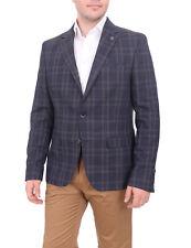 Moda Crise Slim Fit Navy Blue & Gray Plaid Two Button Stretch Blazer Sportcoat