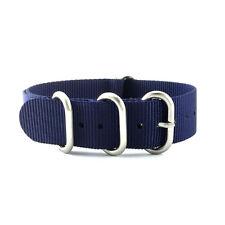 5-Ring Dark Blue Nylon Military ZULU Watch Strap (Steel 20mm, 22mm)