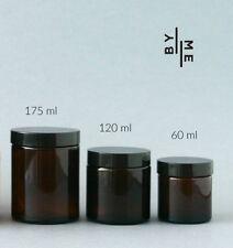 Amber Glass Jars with Wadded black Caps, 175ml (x 4), 120ml (x 6), 60ml (x 6)