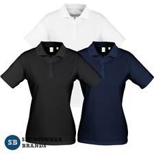 Ladies Ice Polo Shirt Top 100% Cotton White Black Navy Plain Size 8-24 P112LS