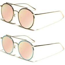 5f4a293d1 Grande Rosa Gafas de Sol Redondas Piloto Lente Plana Brow Bar Reflectante  Mujer
