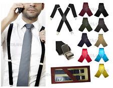 bretelle uomo Regolabili con Clip Larghe elasticizzate nero blu rosso verde bian