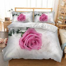 3D Flower Rose Duvet Cover with Pillow Cases Bedding Set Single Double King