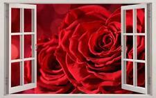 Red Roses Flower Garden 3D Window Decal Wall Sticker Home Decor Art Mural J1153