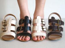 New Women's Medium Heel Strappy Sandals Black Brown Beige 6 6.5 7 7.5 8 8.5 9 10