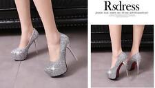 Stiletto Scarpe decolte eleganti donna spillo plateau 13.5 argento strass 8556