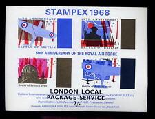 Gb Strike Mail Sheet 1968 Stampex.Raf.London 2/- Post