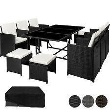 Set di mobili da giardino poli rattan arredamento 6 Sedie 4 Sgabelli 1 Tavolo