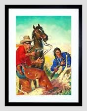 PAINTING COWBOY INDIAN HORSE CHAPS GUN MASK FRAMED ART PRINT B12X7278