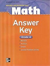 MacMillan / McGraw-Hill Math, Grade 4: Answer Key - ** Like New - Mint **