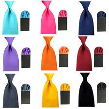 Men's Satin Solid Wide 8cm Ties Neckties Pre-Folded Puff Pocket Square Hanky Set