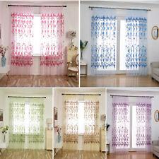 1*Home Kitchen Bathroom Window Romantic Curtain Floral Sheer Voile Valance Decor