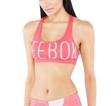 New Reebok Logo Sports Bra Vest Top, Ladies Womens Gym Training Fitness - Pink