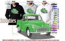 56-71 MORRIS MINOR 1000 UTE HOODIE ILLUSTRATED CLASSIC RETRO MUSCLE SPORTS CAR