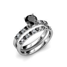 14K Gold Diamond & Treated Black Diamond 1.70 ct tw Engagement Ring.