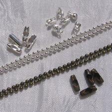 1m CHAINE bille 2mm - 100 Cache-noeuds EMBOUTS - 100 CONNECTEURS argenté bronze