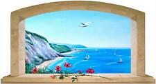 Sticker Trompe L'oeil Adesivo Finestra sul mare siciliano con barche
