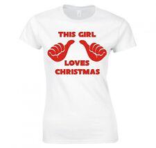 """Festive """"cette fille aime Noël"""" Mesdames skinny fit t-shirt"""