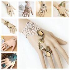Bracelet Ring Handmade Lace Jewelry Adjustable Victorian Goth Punk