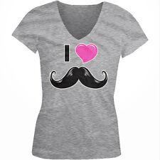 I Love <3 Mustache Pink Heart Handlebar Hipster Grow My Juniors V-Neck T-Shirt