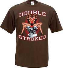 T Shirt braun HD Old School-,Chopper- & Bikermotiv Modell Double Stroke