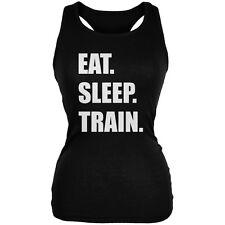 Eat Sleep Train Black Juniors Soft Tank Top