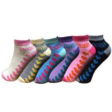 Women Ladies Girls 6 Pairs Coloured Designs Plain Trainer Liner Ankle Socks 4-7