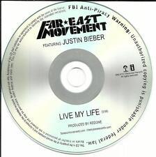 JUSTIN BIEBER w/ FAR EAST MOVMENT Live My Life RARE TST PRESS PROMO DJ CD single