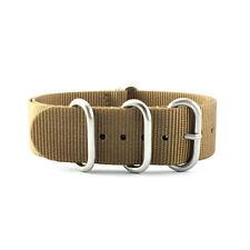 5-Ring Khaki Brown Nylon Military ZULU Watch Strap (Steel 20mm, 22mm)