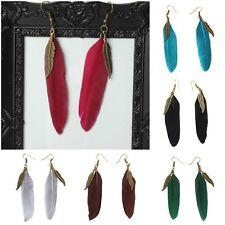 Feder Ohrringe Earring Boho Vintage Ohrhänger Indianer Look Hippie in 6 Farben