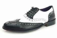 Frank James REDFORD Brogue 1920 con lacci scarpe in pelle UOMINI NERO/Bianco