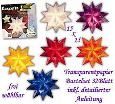 (1m²=4,93€) Faltblätter Bascetta Transparentpapier Faltsterne 15x15 cm 6 Farben