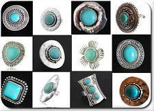 XXL anillo Anillo de mujer plateado Edelstein turquesa piedra a mano el Tíbet ancha