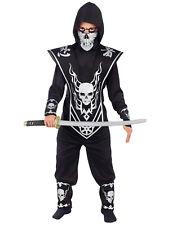 Black Skull Lord Ninja Stealth Dragon Warrior Boys Halloween Costume  S-L
