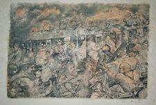 Sac de billes joffo, le train : Lithographie de Lucien Philippe MORETTI