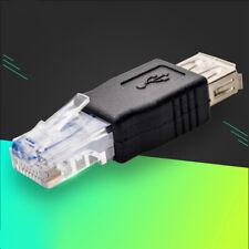 5 Stück USB A Female zu Ethernet RJ45 Stecker Router Adapter Socket LAN Netzwerk