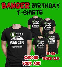 Mens 18th To 50th BIRTHDAY TShirts OLD BANGER 18 50 Years Old Joke Car Gift