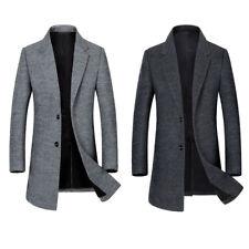 KAY Men's Long Coat Winter Woolen Overcoat Slim Fit Business Outwear Warm Jacket