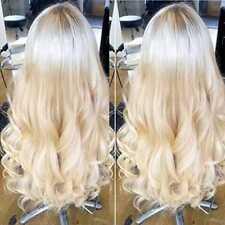 Remy Brazilian Virgin Human Hair Lace Front Wig 613 Platinum Blonde Body Wavy L1
