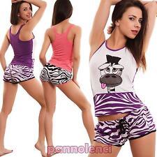 Pigiama donna completo canotta canottiera pantaloncini shorts zebrato nuovo 6041