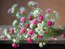 Still carnation flowers by R. Longpre Tile Mural Kitchen Backsplash Ceramic 10x8