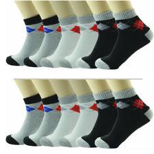 3 Pairs Mens Ankle Quarter Crew Argyle Socks Cotton Low Cut Size 9-11 10-13