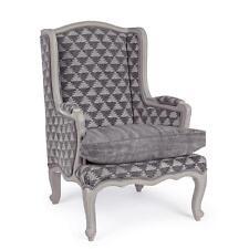 poltrona imbottita tessuto legno design classica poltrone vintage sedute sedie